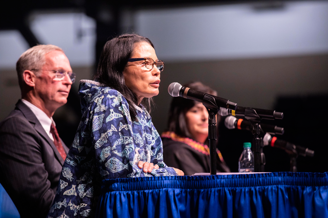 University leaders took center stage at a panel discussion during the Alaska Federation of Natives Convention to discuss Article VII of Alaska's Constitution which requires the state to establish and maintain a public school system, including a state university.